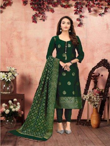 dark green banarasi silk  fabric jaquard print work party