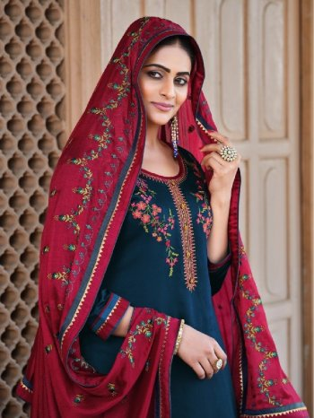 royal blue jam silk fabric embroidery work ethnic