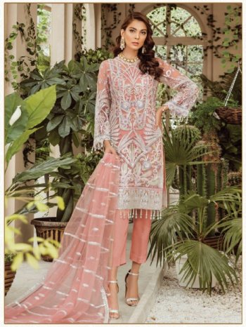 peach georgette fabric embroidery work occasionaly