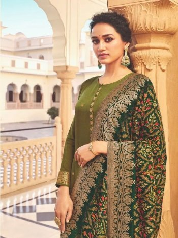 mhendi green dola jaquard fabric digital print work occasionaly