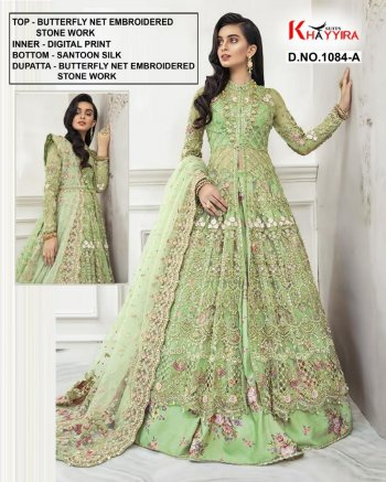 pista green butterflu net fabric embroidery work wedding