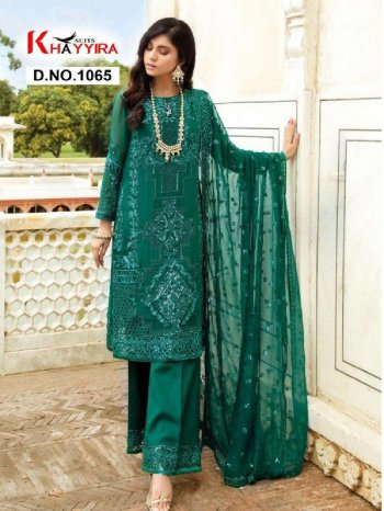 dark green georgette fabric embroidery work party
