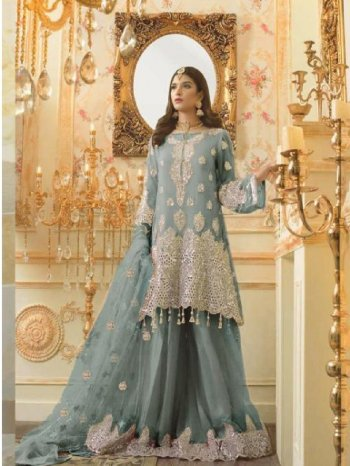 grey georgette fabric embroidery work occasionaly