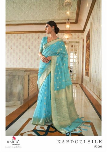 sky blue silk fabric jaquard print work wedding