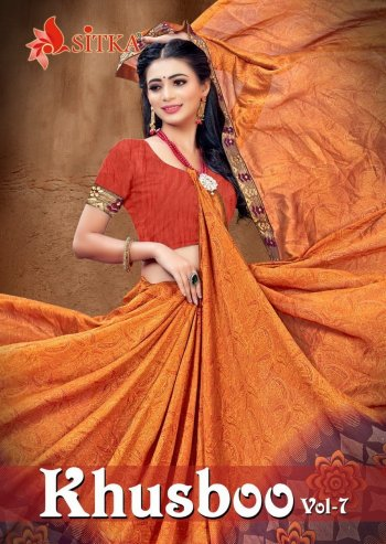 orange vichtra silk fabric printed work casual