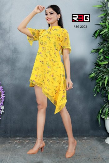 yellow georgette fabric printed work festival