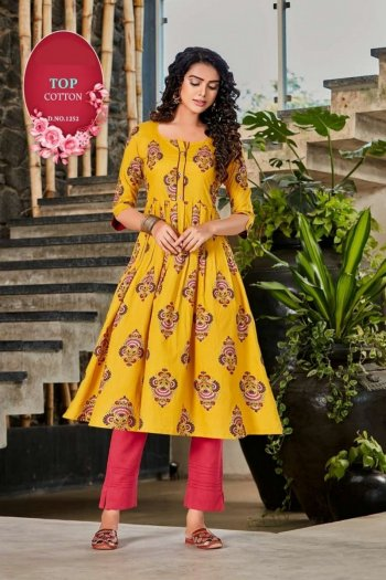 yellow rayon fabric printed work festival