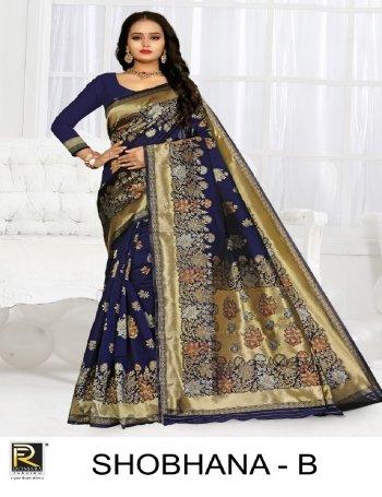 dark blue silk fabric printed  work festive