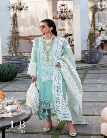 light blue cotton fabric embroidery work party wear