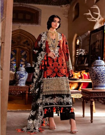 red & black cotton ( pakistani copy) fabric embroidery work wedding