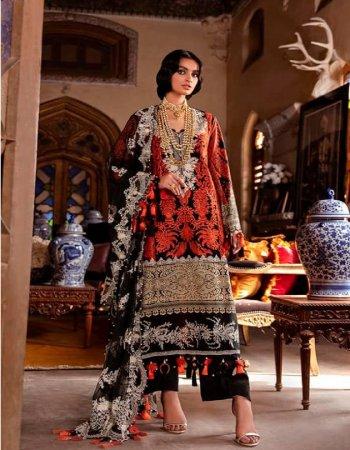 red & black cotton ( pakistani copy) fabric embroidery work wedding
