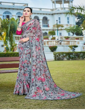 grey georgette fabric printed work ethic