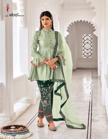 light green chinon fabric embroidery work casual
