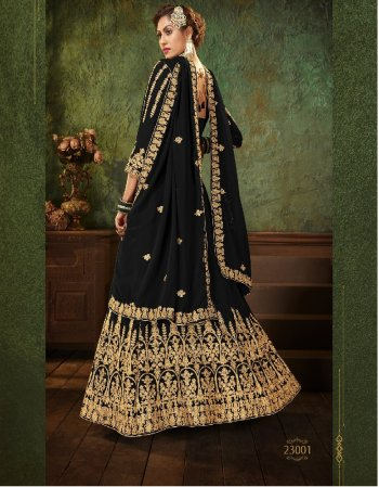black georgette fabric embroidery work party wear