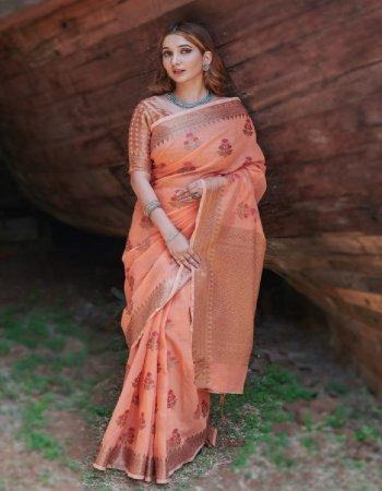 orange soft linen silk fabric printed work casual