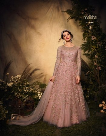 light pink net fabric embroidery work casual