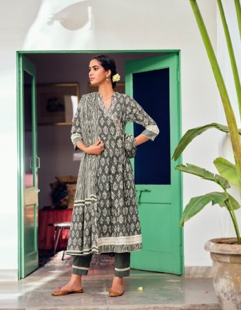 gry cotton fabric print work casual