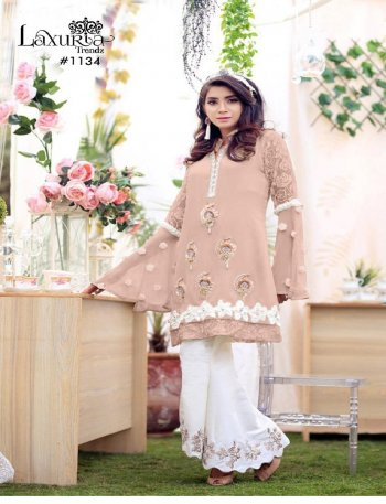 cream georgette fabric embroidery work casual