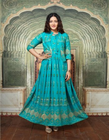 light blue heavy reyon fabric gold print work casual