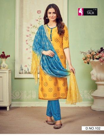 yellow rayon fabric printed work casual