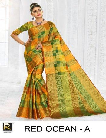 green & yellow lichi silk fabric print work casual