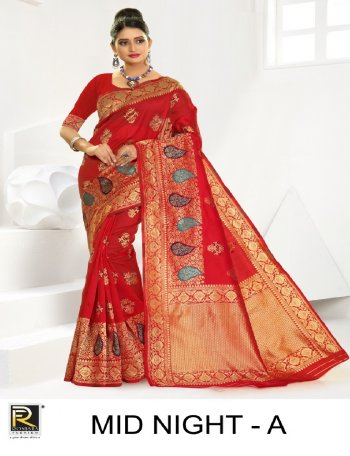 red premium silk fabric print work festive