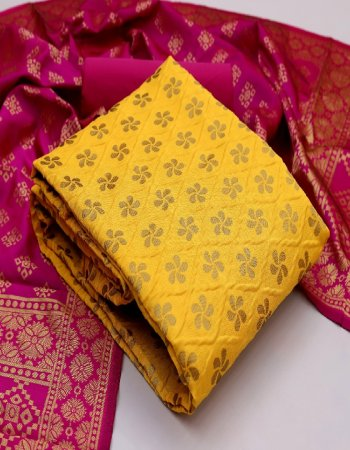 yellow banarasi silk fabric print work ethic