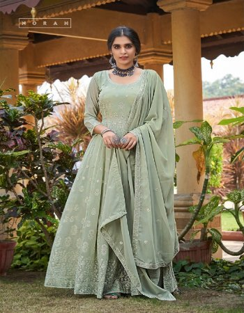light green  georgette fabric embroidery work casual