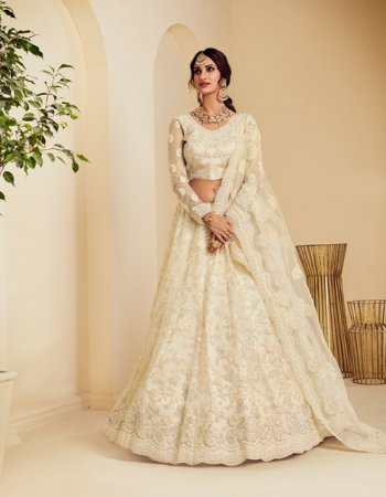 offwhite net with silk fabric embroidery work wedding