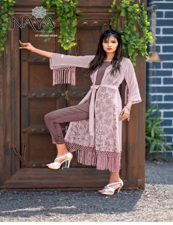 pink pure georgette fabric printed work casual