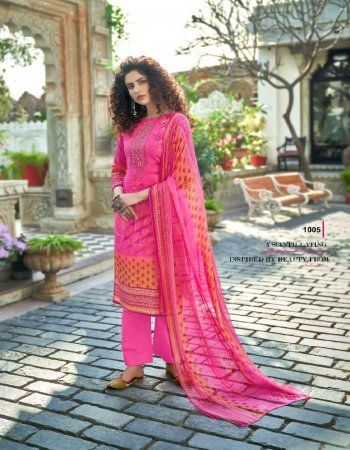 pink pure cambric fabric printed work casual