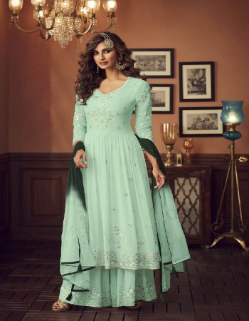 pastel green georgette  fabric embroidey work ethic