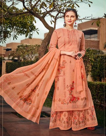 light orange georgette  fabric printed work casual