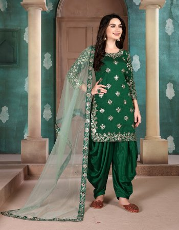 dark green georgette  fabric mirror embroidery work casual
