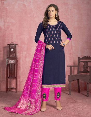 navy blue cotton  fabric embroidery work casual
