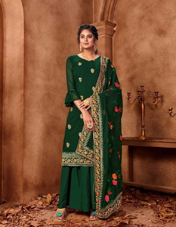 over green georgette fabric embroidery work casual