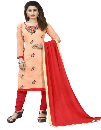 peach & red chanderi cotton fabric embroidery work casual