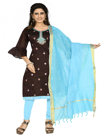 dark brown & blue chanderi cotton fabric embroidery work casual
