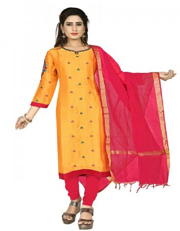 musterd yellow & red satin georgette fabric embroidery work casual