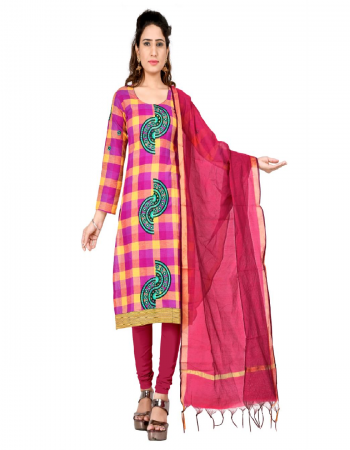 dark pink & yellow south cotton fabric printed work casual