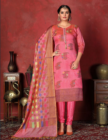 pink banarsi silk fabric jaqcuard work casual
