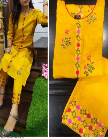 yellow rayon cotton fabric zari embroidery and hand pant work work casual