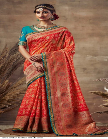 red silk fabric bandhej weaving work casual