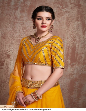 yellow art silk & satin fabric embroidery work casual
