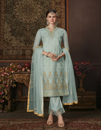 aqua blue net fabric embroidery & stone work work casual