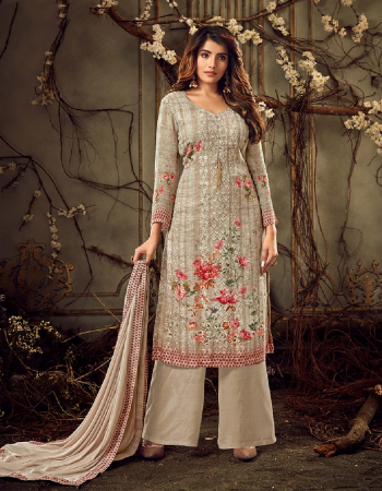 pale grey georgette fabric printed work casual