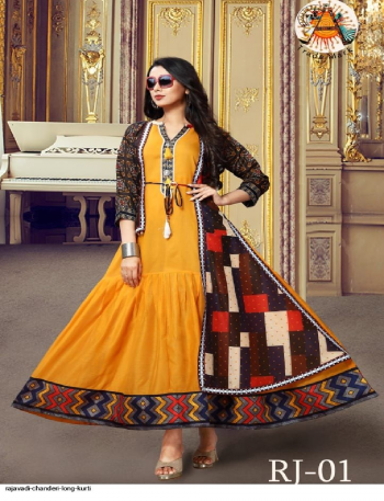 orange chanderi  fabric digital print work casual