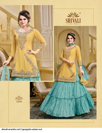 yellow & sky blue georgette fabric embroidry  work casual