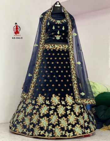 navy blue lahenga - 9000 markable velvet + with big can can and canvas added its to stand can can | blouse- 9000 markable velvet + big size long blouse + full sleeve | dupatta - net  fabric lehenga - beautiful embroidery work fancy dori work + full of ciramic daimonds | blouse - embroidery | dupatta - heavy embroidery work with border  ( master copy) work festive