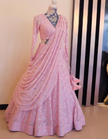baby pink lehenga - heavy georgtte - work - mirror work with fully finishing- gher - 2.30m| blouse - heavy georgette - cut - 0.80 cm - work embroidery foil mirror  | dupatta - heavy georgette - work - satin border with atteched moti fabric mirror work work festive